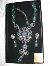 Heidi Daus Aqua swirl Necklace & clip earring set Swarovski Crystal Olivine