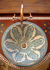 GRANDE dipinti a mano marocchino Turchese Rotondo Lavello Lavabo Vasque + Crepe