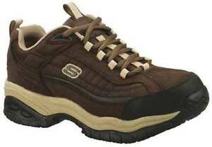 76760 brown skechers non slip sole mens work leather shoes