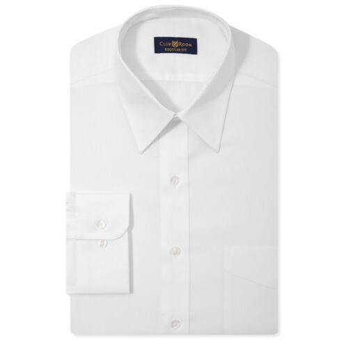 $98 CLUB ROOM Men/'s REGULAR-FIT WHITE LONG-SLEEVE BUTTON DRESS SHIRT 15 32//33 M