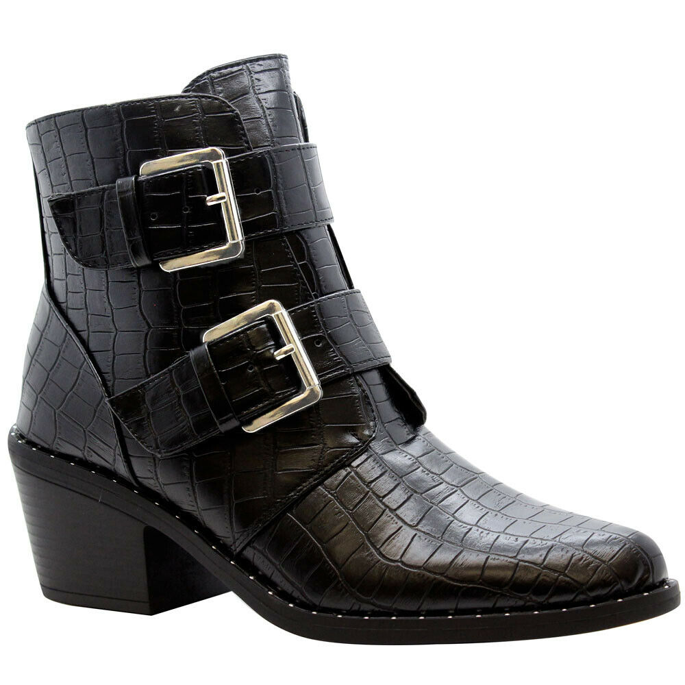 Womens Biker Cowboy Pointy Toe Shoes Block Mid Heel Punk Ankle Boots Chelsea New