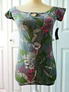 NWT-Fox-Racing-Women-039-s-Exotic-SS-Top-Size-Medium-Floral-Flowers