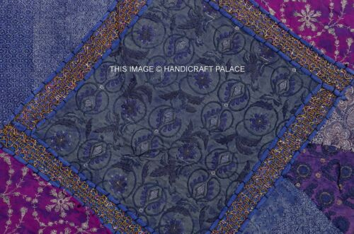 """60/"""" INDIAN BLUE BEADED TAPESTRY WALL HANGING THROW SEQUINS Embroidery Decotative"""