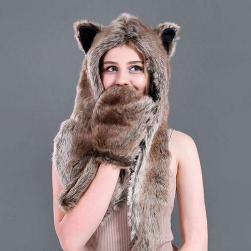 Chaud Hiver Fausse Fourrure Chapeau Femmes Filles Cap capuche écharpe Châle Gants Animal Beanie