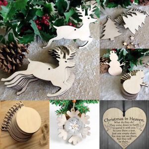 Hanging Christmas Decorations Diy.Details About 10pcs Christmas Wood Craft Ornament Diy Xmas Tree Hanging Pendant Decoration Set