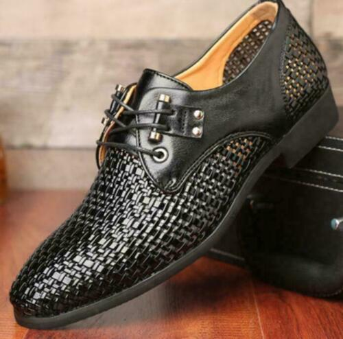 Mens Breathable Hollow Out Sandals Slip On Leather Formal Dress Casual Shoes NEW