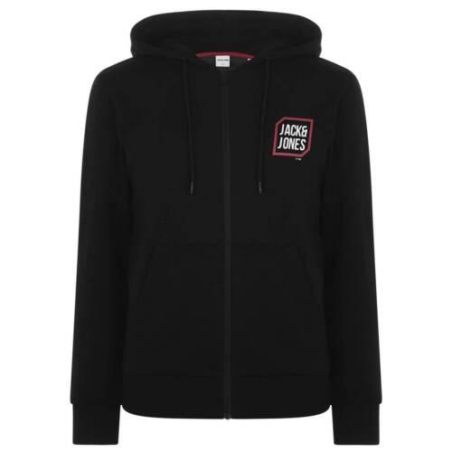 Jack and Jones Logo Zipped Hoodie Mens Gents Zip Hoody Hooded Top Full Length