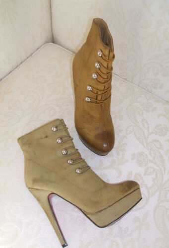 NEW SIZE 3 4 5 6 BEIGE CAMEL KHAKI FAUX LEATHER MILITARY ANKLE SHOE BOOTS SHOES