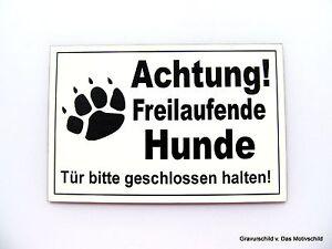 KüHn Achtung,freilaufende,hunde,gravur,schild,12 X 8 Cm,hundeschild,warnschild,neu Hohe QualitäT Und Preiswert Türschilder Hunde