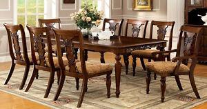 Formal Dining Table Set in Dark Oak Living Room Furntiure Table+6 SC+2AC CM3880T