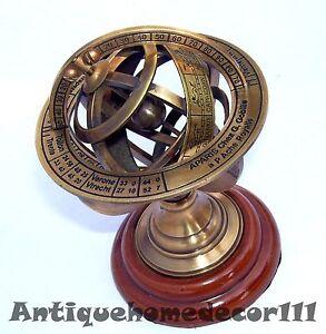 Antique Nautical Brass Armillary Sphere World Globe Rosewood Base Desktop Gift