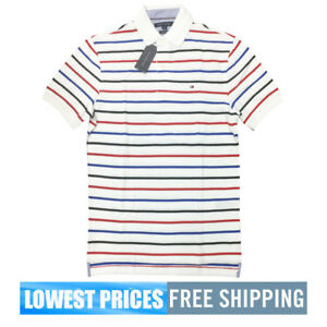 Tommy-Hilfiger-NWT-Men-039-s-Classic-Fit-Stripe-White-Blue-Red-Basic-SP-Polo-Shirt