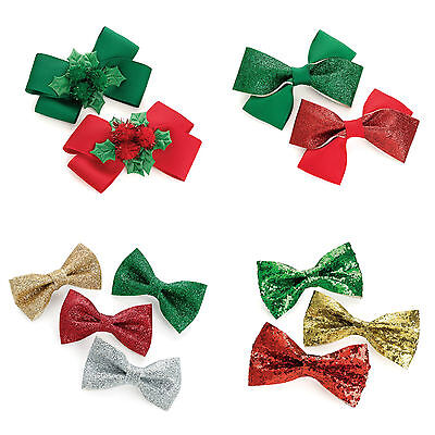 Christmas Hair Bows//Clips//Slides Xmas Hair Accessories Various Sizes /& Designs