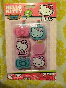 NEW-Hello-Kitty-Stackable-Erasers-6pcs-Pink-Blue-Pencil-School-Party-Favors