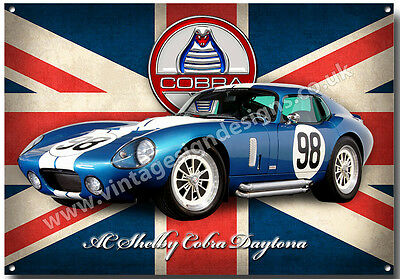 """6/"""" x 18/"""" Shelby AC Cobra Featured Crown Gold Gasoline Marquee New Metal Sign"""