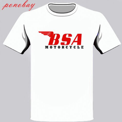 New BSA Motorcycle Classic Red Logo Men/'s White T-Shirt Size S to 3XL