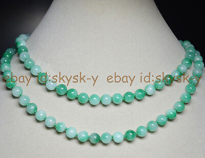 """Natural 8mm Multicolor Green Jade Gems Round Beads Necklace 36"""""""