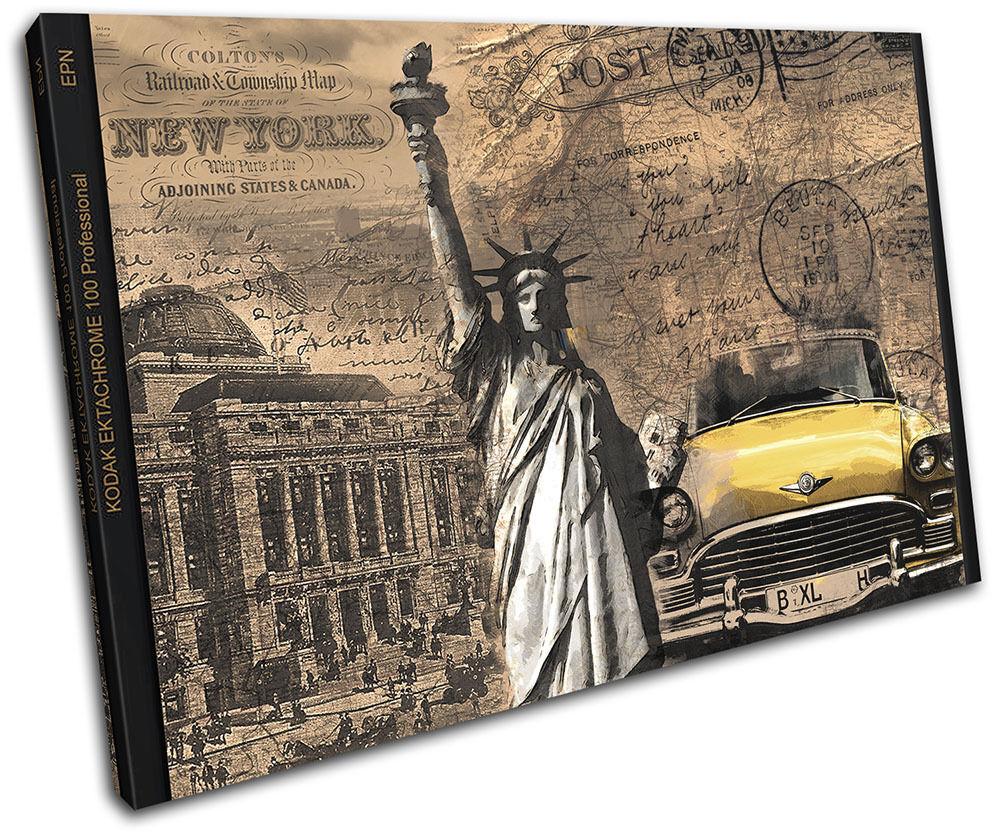 New York City Taxi Liberty  Vintage  SINGLE LONA pa rojo  Vintage arte Foto impresion 384a3f