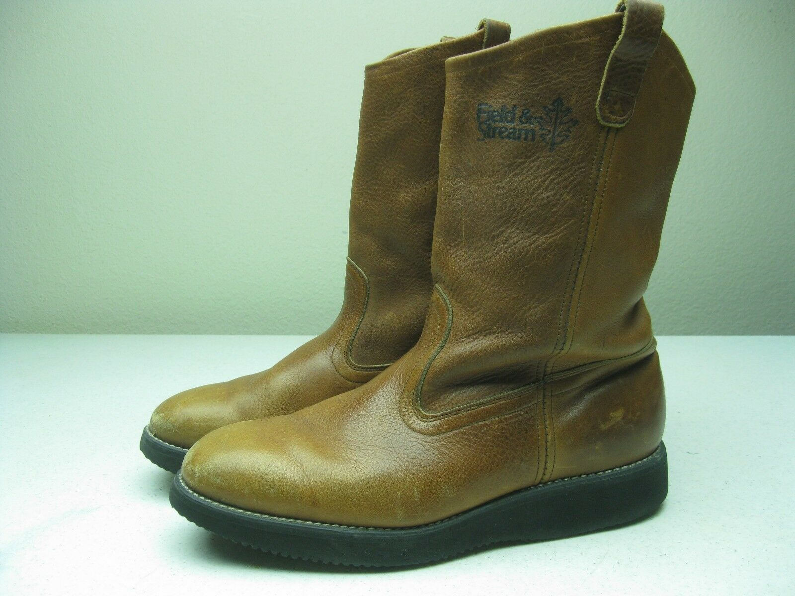 DISTRESSED FIELD AND STREAM HONEY BROWN HEVA TECH ENGINEER BOOTS Uomo size 12 W