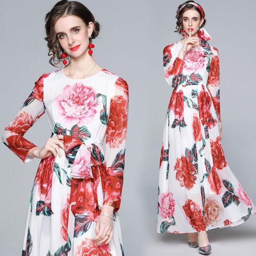 Spring Summer Fall Floral Print O Neck Bow Long Sleeve Women Casual Maxi Dress