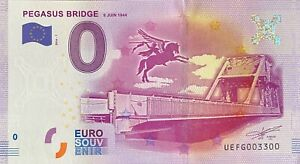 BILLET-0-EURO-PEGASUS-BRIDGE-FRANCE-2016-NUMERO-3300