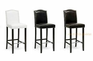 2-Black-Brown-Or-White-Modern-Bar-Stools-Faux-Leather-Nail-Head-Solid-Wood-Frame