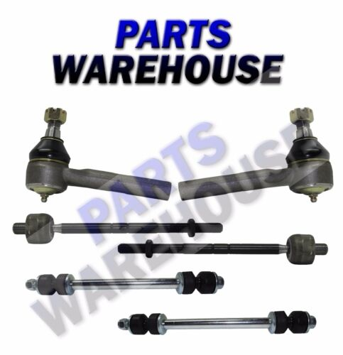 6 Piece Kit Inner and Outer Tie Rod Ends Sway Bar End Links