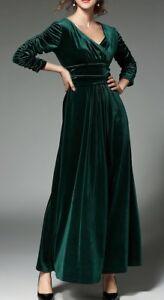 separation shoes 5ea85 a8519 Dettagli su Elegante vestito abito lungo verde velluto tubino slim maniche  lunghe slim 3189