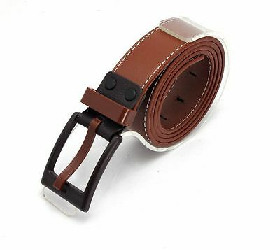 1PCS Korean Mens Coffee PU Leather Belt Anti-allergic Buckle Waistband #23602