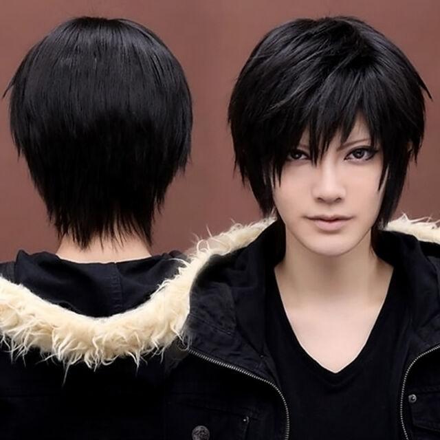 Men's Boy's Kylin Black Hair Wig Mens Male Black Short Hair Cosplay Anime Wig CA