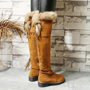 Womens-Cuban-Heel-Winter-Fur-Lined-Thicken-Shoes-Round-Toe-Warm-Over-Knee-Boots
