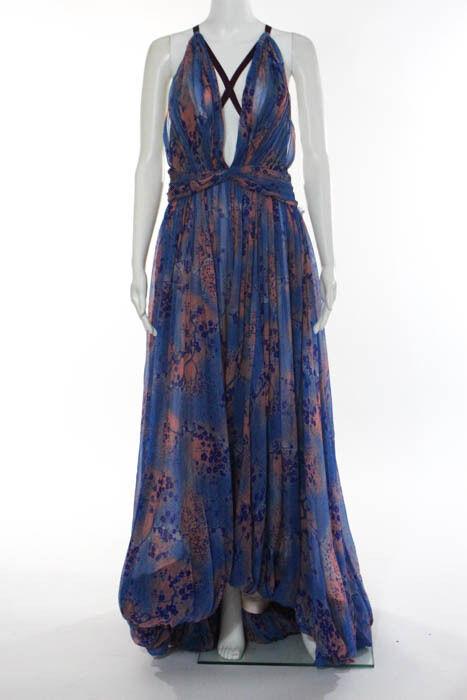 Keita Maruyama bluee Silk Floral Print Halter Maxi Dress Size 2 New