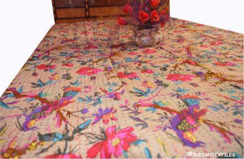 Indian Handmade Bird Print Kantha Bedspread Throw Cotton Blanket Quilt Vintage