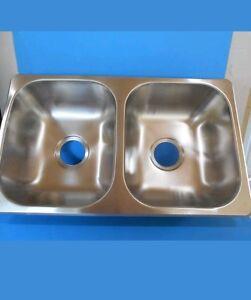 Rv 5050 stainless steel double kitchen sink 27 x 16 x 7 rv ebay image is loading rv 50 50 stainless steel double kitchen sink workwithnaturefo