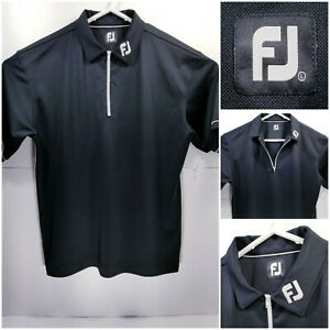 FootJoy-FJ-Mens-Large-Golf-Shirt-Polo-Zip-Closure-Black