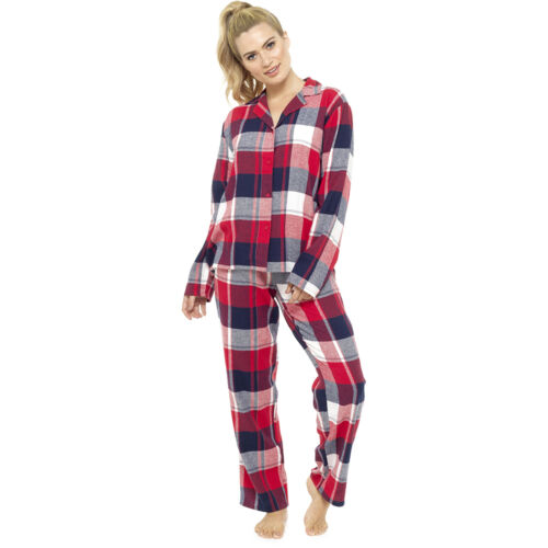 Ladies Traditional Cotton Flannelette Button Up Red Check Winter Pyjama 8-22