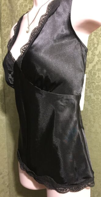 Nine West Black V-Neck Lace Trim Side Zip Sexy Top Size 6 BRAND New With Tags