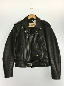 schott-618-perfecto-double-leather-jacket-38-racer-motorcycle-steerhide