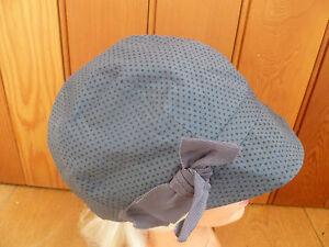 MONSOON ACCESSORIZE PETROL BLUE BLACK STAR BOW BAKER BOY PEAKED HAT CAP