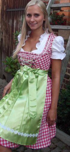 NEU süßes Dirndl,3 tlg.Set,Kleid,Bluse,Schürze,pink-kariert grün,Gr.36,38,40