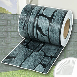 Garden-fence-screening-privacy-shade-35-m-roll-panel-cover-mesh-foil-slate-new