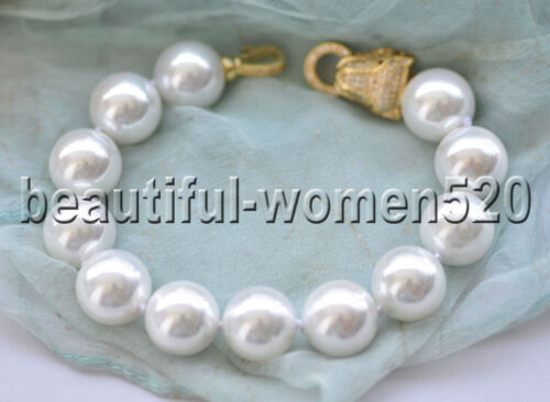 environ 20.32 cm X0608 14 mm round South Sea Shell Pearl Bracelet Zircone cubique 8 in