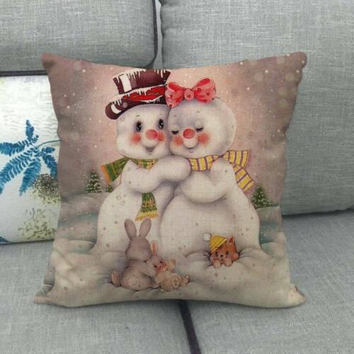 Xmas Cojines Christmas Cartoon Snowman Square Flax Cushion Covers Pillow Case