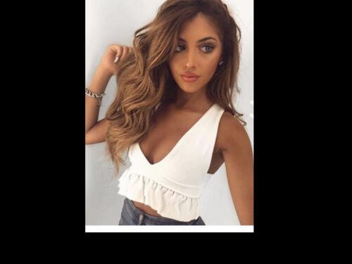 Women Frill Bardot Off Shoulder Crop Top Bodycon V Neck Long Ruffle Sleeve Dress