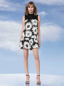 Details About New Victoria Beckham Target Black Daisy Drop Waist Scallop Trim White Dress S