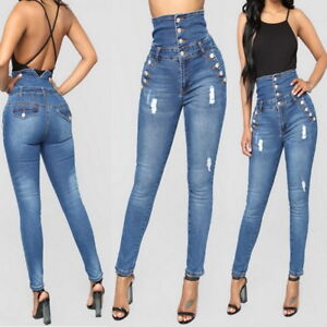 99222050d65 US Womens Sexy Hight Rise Jean Pants Slim Fit Hole Stretch Pencil ...