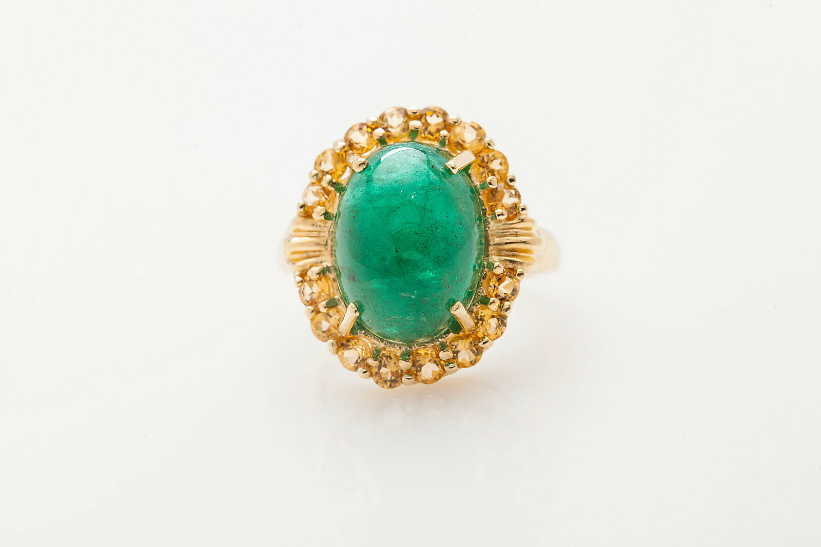Antique 1940s  12,000 15ct Colombian Emerald Citrine 14k Yellow gold Ring