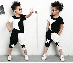 Caricamento dell immagine in corso Set-Per-Bambini-Costume-Patchwork-Star-T- shirt- fb0e0702dad6