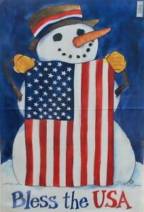 """75% off of 5 Bless the USA Snowman Standard House Flags by Toland 24"""" x 36"""",New!"""