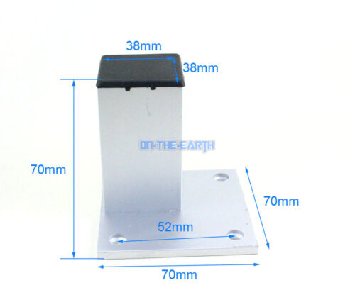 4 Pieces Aluminum Square Furniture Cabinet Leg Cupboard Table Feet